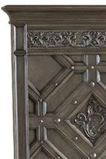 Carved Headboard with Decorative Nails