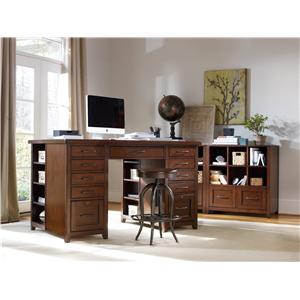 Hooker Furniture Wendover Computer Credenza with Dropfront Keyboard Drawer, Pullout Printer Storage and 2 Locking File Drawers