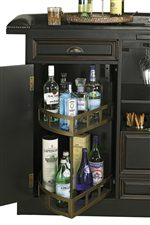 A Quarter Round Lazy Susan with 2 Fixed Shelves for Liquor Storage