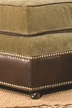 Ottoman Base with Nailhead Trim and Small Casters