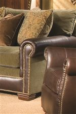 Rolled Arm with Nailhead Trim and Block Wood Leg