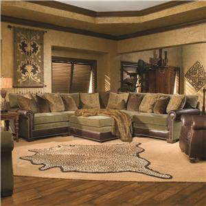 Huntington House 7107 Traditional Sectional Sofa with Nailhead Trim : traditional sectionals - Sectionals, Sofas & Couches