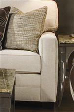 Track Arm and Block Feet Options with Contrasting Accent Pillows