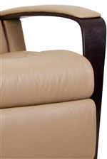 Exposed Wood Arm with Padding Featured on the Peak Relaxer Recliner