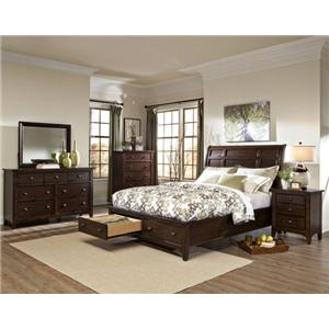 Intercon Jackson Transitional Queen Storage Bed with Sleigh Headboard