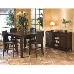 Intercon Kona 6 Piece Dining Room Set with Parson's and Ladder Back Side Chairs