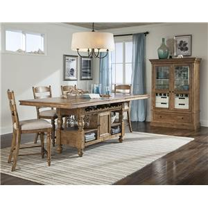 Intercon Lake House Counter Height Gathering Island Table with Storage