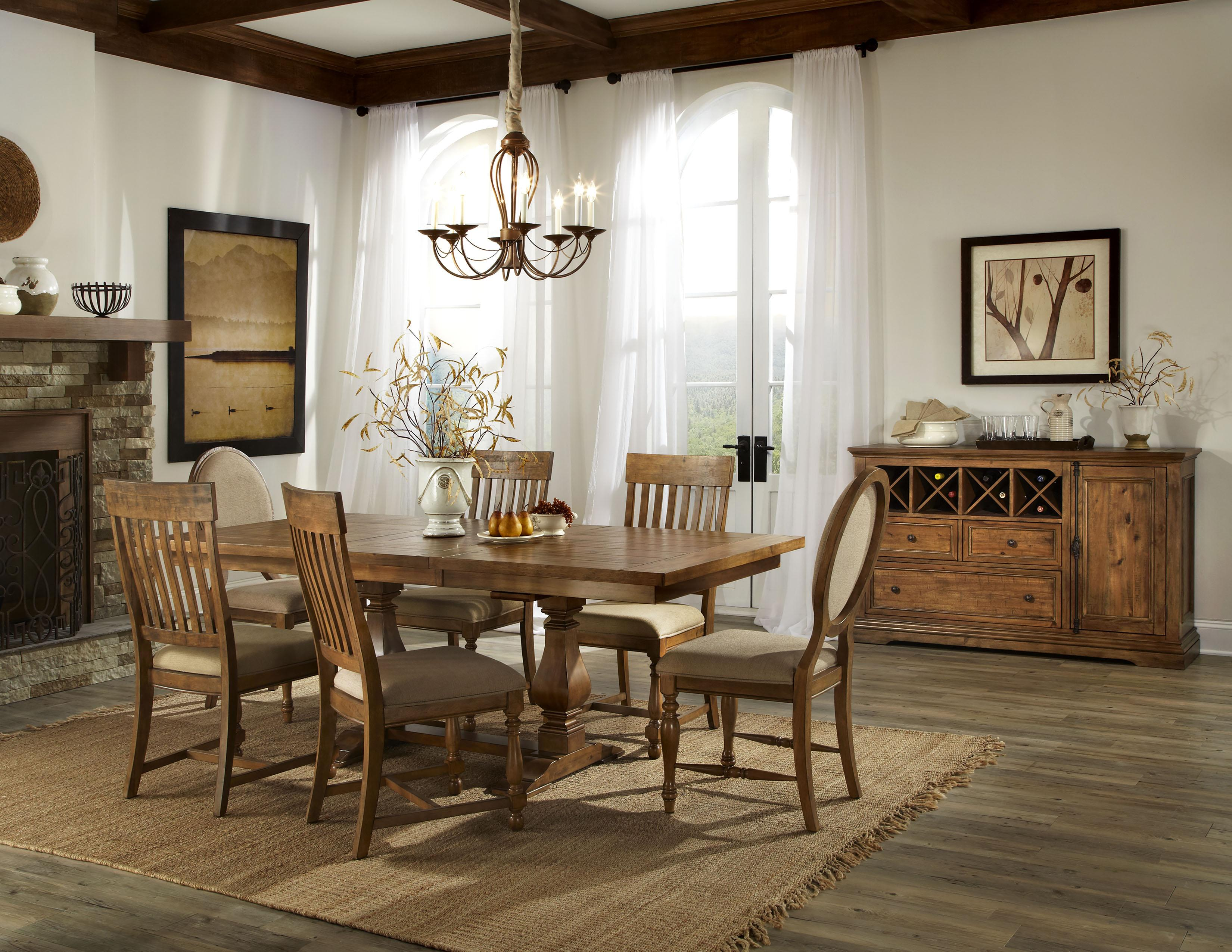 Intercon Rhone Trestle Dining Table with Leaf | Wayside Furniture ...
