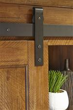 Sliding barn door track and hinge