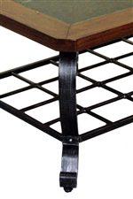 Scrolled Metal Legs & Grid Shelf