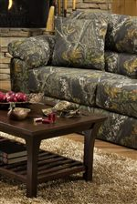 Camouflage Upholstery Gives this Living Room Collection a Fun and Free Spirited Feel
