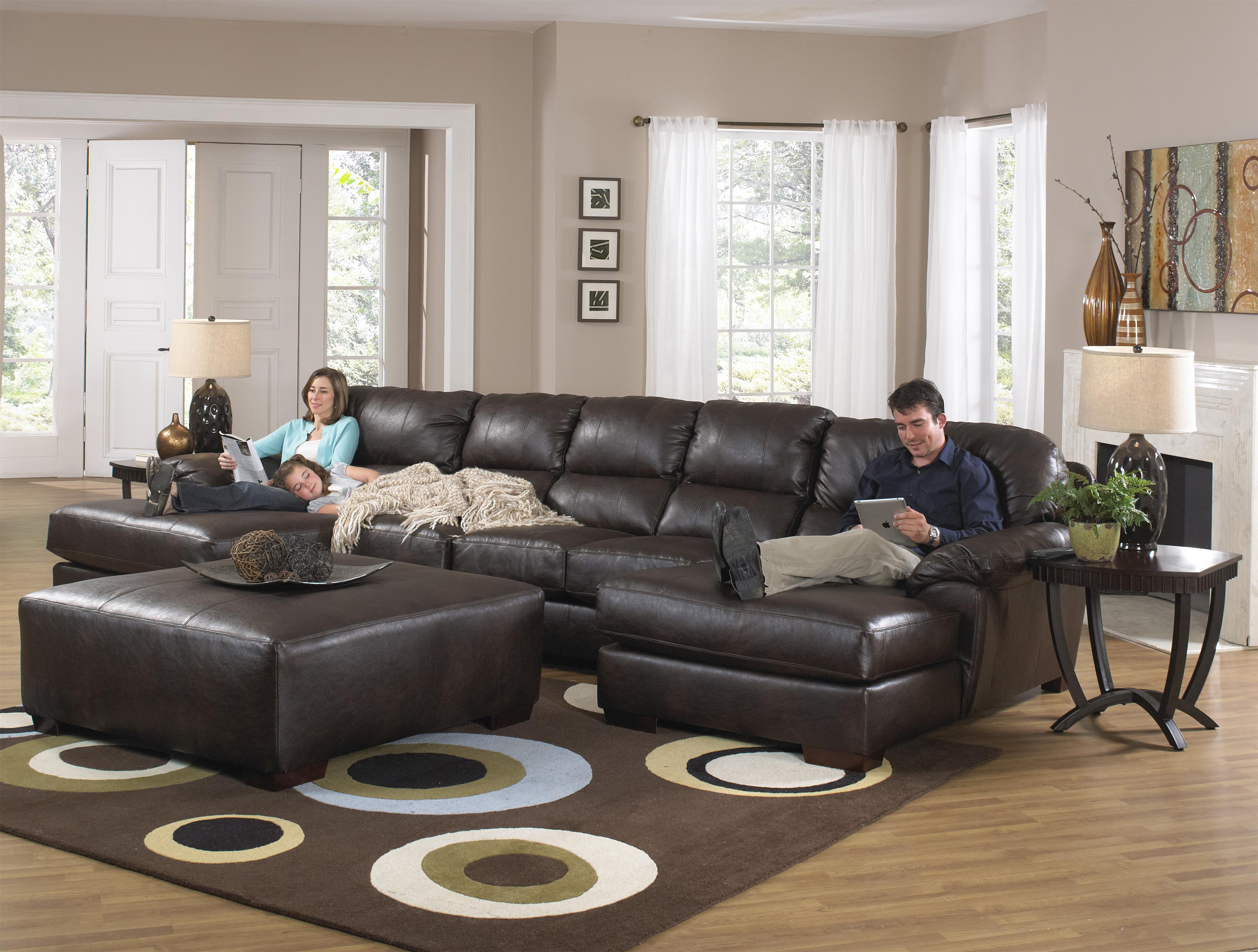 Jackson Furniture Lawson Three Seat Sectional Sofa with Console and Chaise - L Fish - Sectional Sofas : reclining couch with chaise - Sectionals, Sofas & Couches