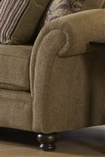 Elegant and Traditional Crescent Rolled Arms Create a Dramatic Accent of Timeless Living Room Decor