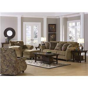 Jackson Furniture Suffolk  Traditional Styled Recliner with Rolled Arms and Wood Legs