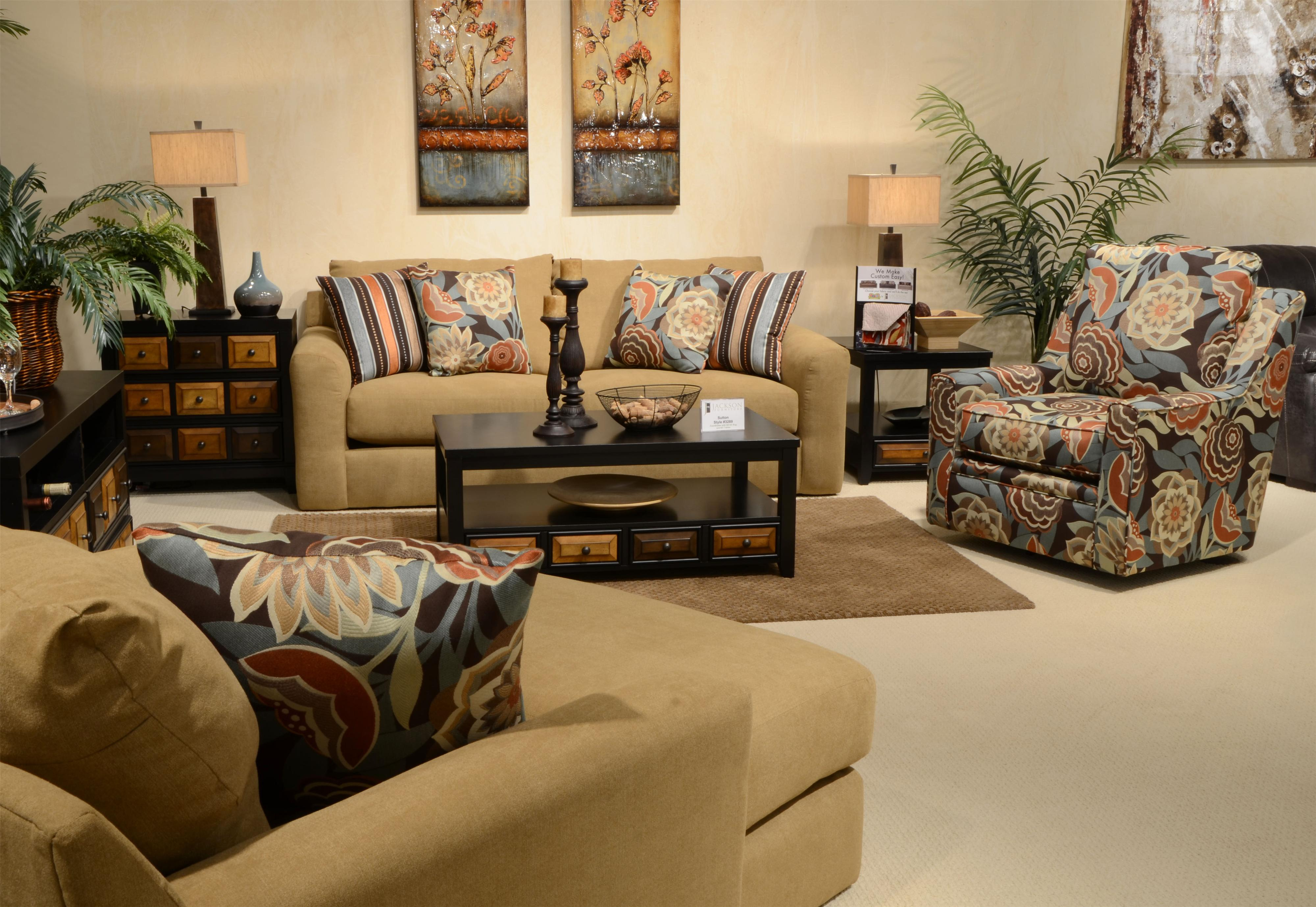 Jackson Furniture Sutton Chair And A Half And Ottoman With Casual Style |  Wayside Furniture | Chair U0026 Ottoman Sets