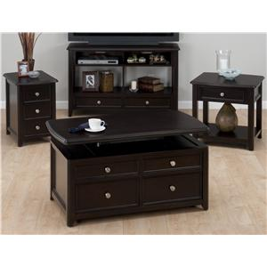 Jofran Corranado Espresso Casual Espresso Lift-Top Cocktail Table wtih 2 Pull-Through Drawers & Casters
