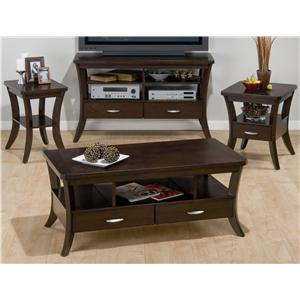 Jofran Joe's Espresso Chairside End Table w/ Shelf and Wood Veneer
