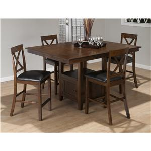 Jofran Olsen Oak 9-Piece Casual Counter Height Pedestal Table & X-Back Stool Set