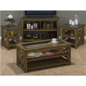 Jofran Brady Birch Contemporary Sofa Table with Open Shelf Compartments