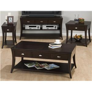 Jofran Manhattan Espresso Chairside Table with One Drawer and One Shelf