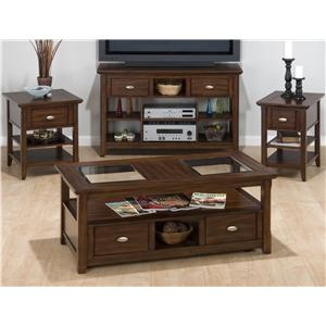 Jofran Bellingham Brown Cocktail Table with 2 Pull Drawers, Shelf & Casters