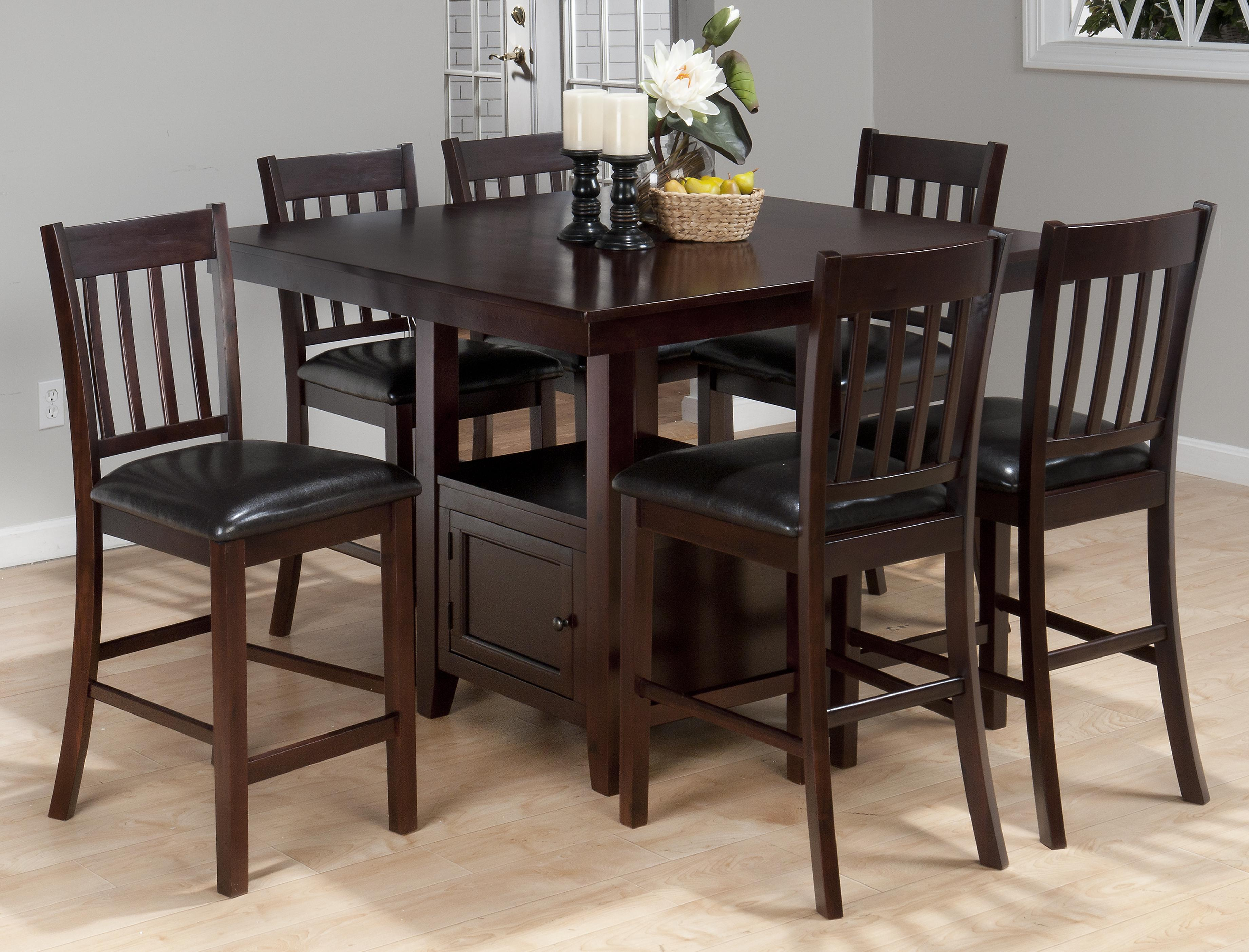 Jofran Tessa Chianti Casual Square Counter Height Table With Pedestal  Storage   Boulevard Home Furnishings   Pub Tables