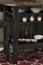 Storage in the Counter Height Table makes Small Space Storage Solutions a Little Bit Simpler