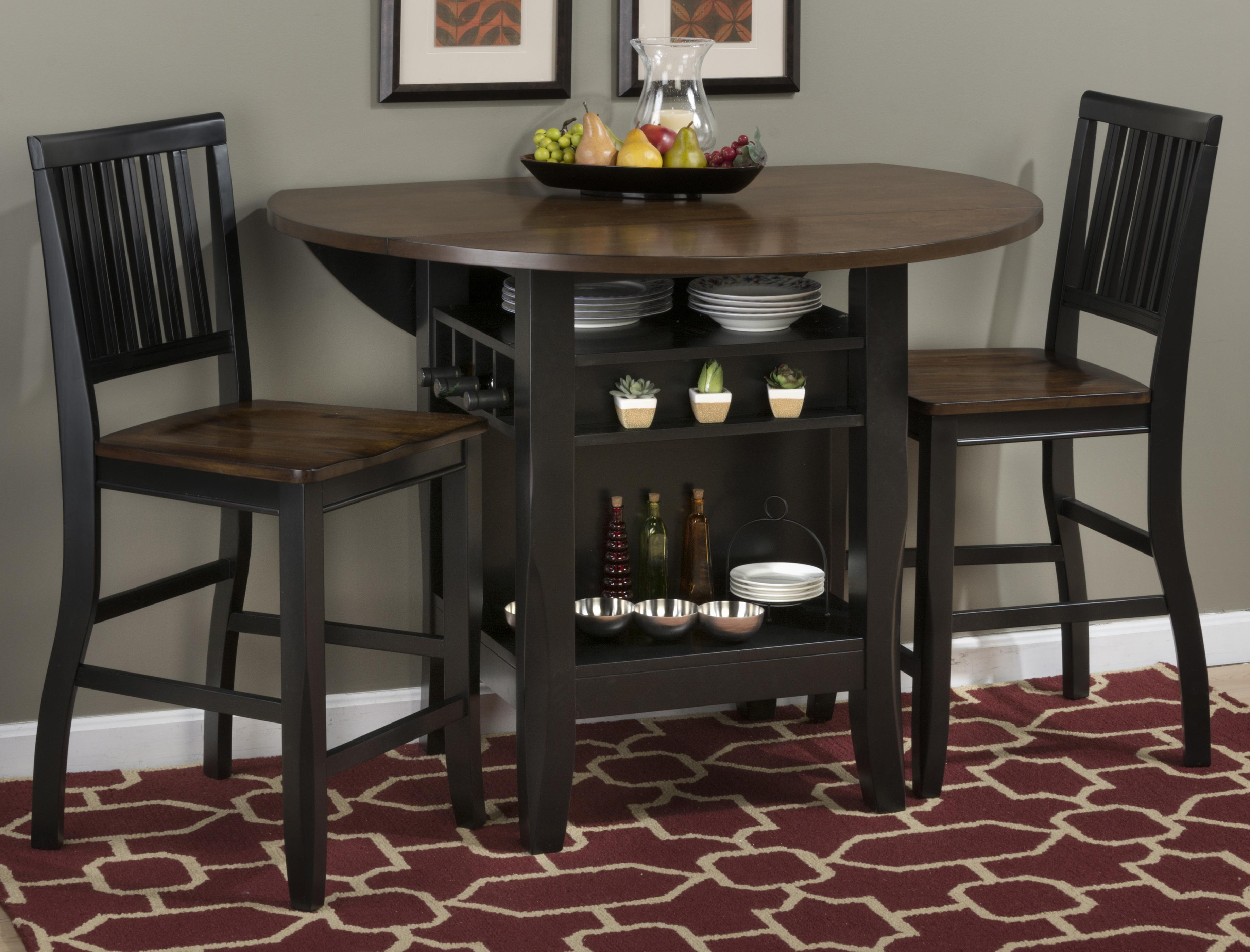 "jofran braden birch 48"" round counter height table with drop-down"