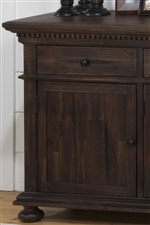 Dentil Moulding, Beveled Edging and Bun Feet create Traditional Elements of Charm