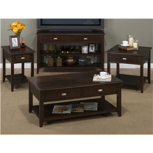 Jofran Merlot Sofa and Media Table with 2 Drawers and Shelf