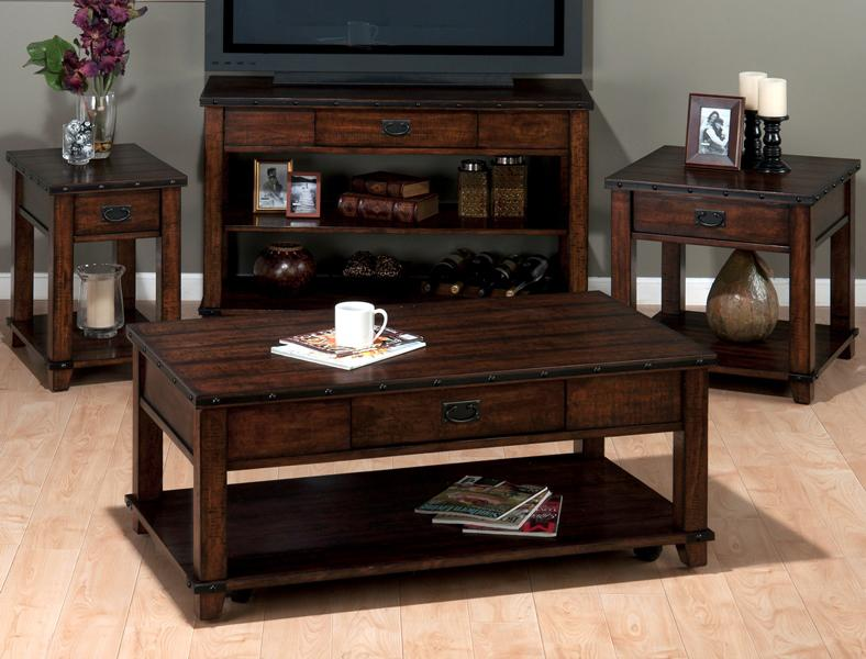 Jofran Cassidy Brown Traditional Plank Top Sofa Table with Drawer ...