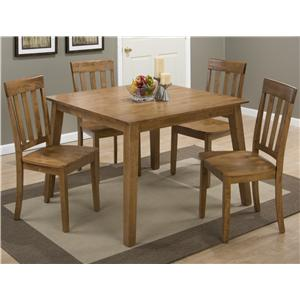 Jofran Simplicity Round Table and 4 Chair Set (with Grid Back Chairs)
