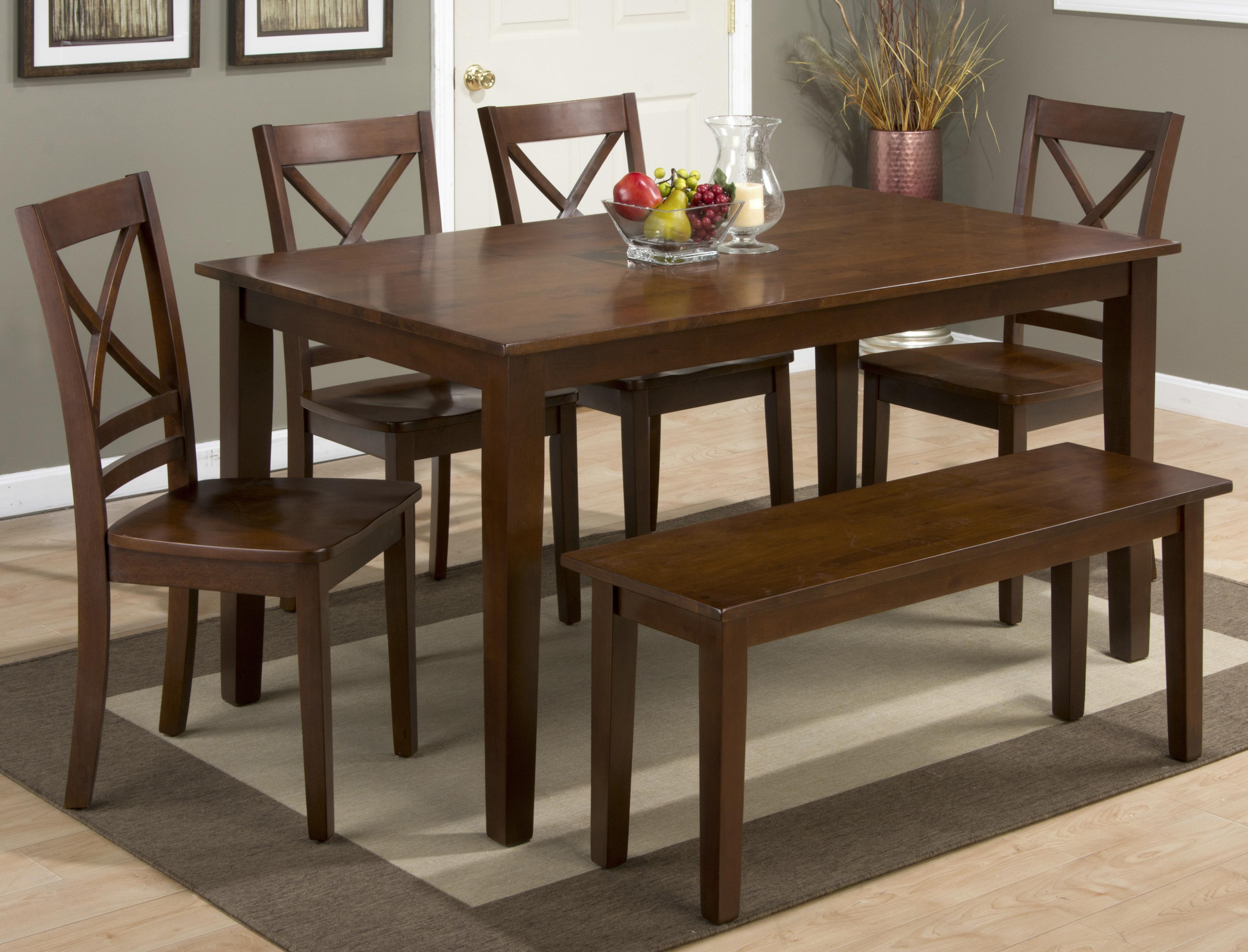 Jofran 3x3x3: Caramel Rectangle Dining Table Set With Bench   Item Number:  452