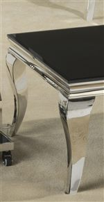 Stainless Steel Legs and Black Glass Tops Create Stunning Style