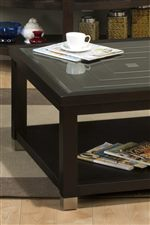 Tempered Glass Tops and Polished Nickel Edging Supply Handsome Detail
