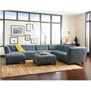 Jonathan Louis Belaire Contemporary Sectional with Tapered Feet
