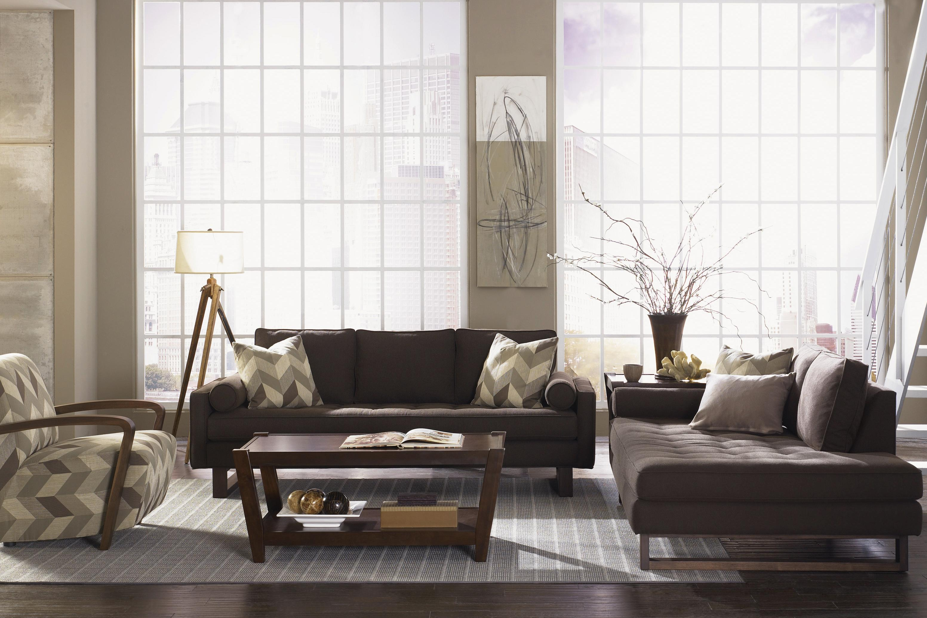 Attractive Jonathan Louis Bennett Low Track Arm Tufted Seat Sofa With Exposed Wood  Legs   Pilgrim Furniture City   Sofas