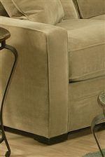 Sleek Track Arm above Upholstered Base with Wood Block Feet