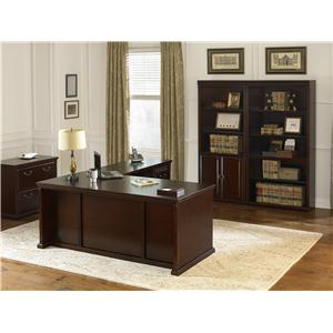kathy ireland Home by Martin Huntington Club Traditional Credenza and Hutch with Pull-Out Storage Light and Glass Doors