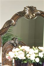 Large Whorled Carvings on Arched Mirror & Headboard