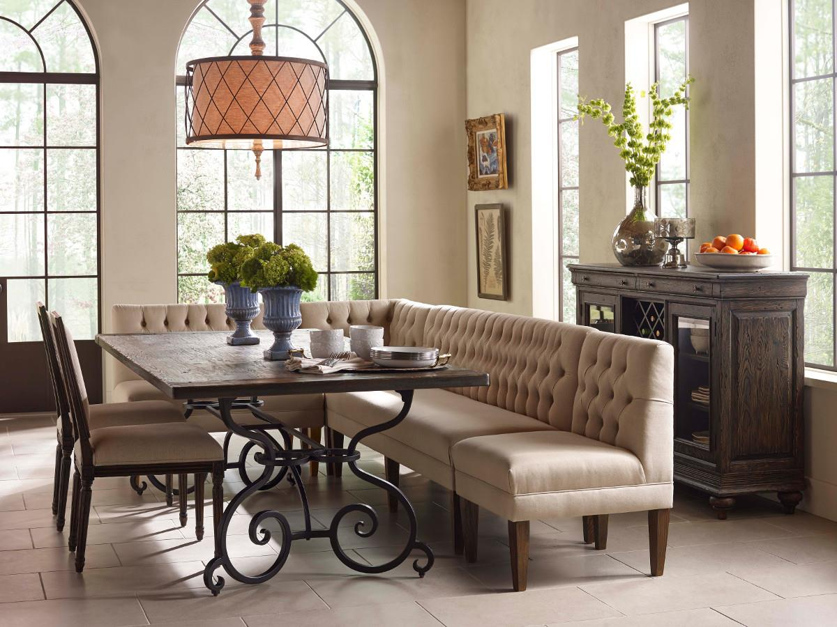 dining room banquette. Kincaid Furniture Artisan\u0027s Shoppe Dining Seven Piece Rectangular Table With Upholstered Banquette And French Side Chairs | Wayside Room