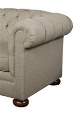 Elegant and Traditional, Chesterfield-Style Silhouette with Wooden Bun Feet