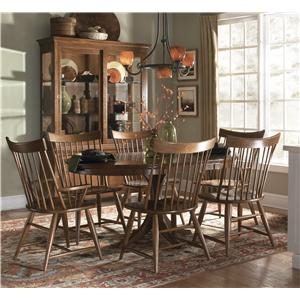 Kincaid Furniture Cherry Park Seven Piece Round Dining Table & Windsor Chair Set