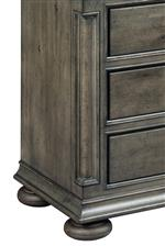 Faux Pilasters with Beveled Carvings and Bun Feet Create Architectural Shapes
