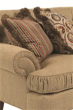 Rolled Panel Arms and Ruched T-Front Cushions Create a Delicate, Classical Look