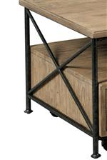 Cast iron stretchers and X accents add a modern industrial touch on select pieces