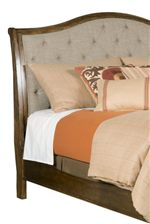 Sleigh Headboard and Upholstered Dining Chairs Feature Sandstone Complementary Fabric