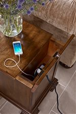 Chairside Table and TV Stand Feature Wire Management Openings and Concealed Outlets for Device Charging