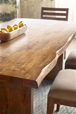 Select pieces maintain the live edge finish for a natural and rustic touch