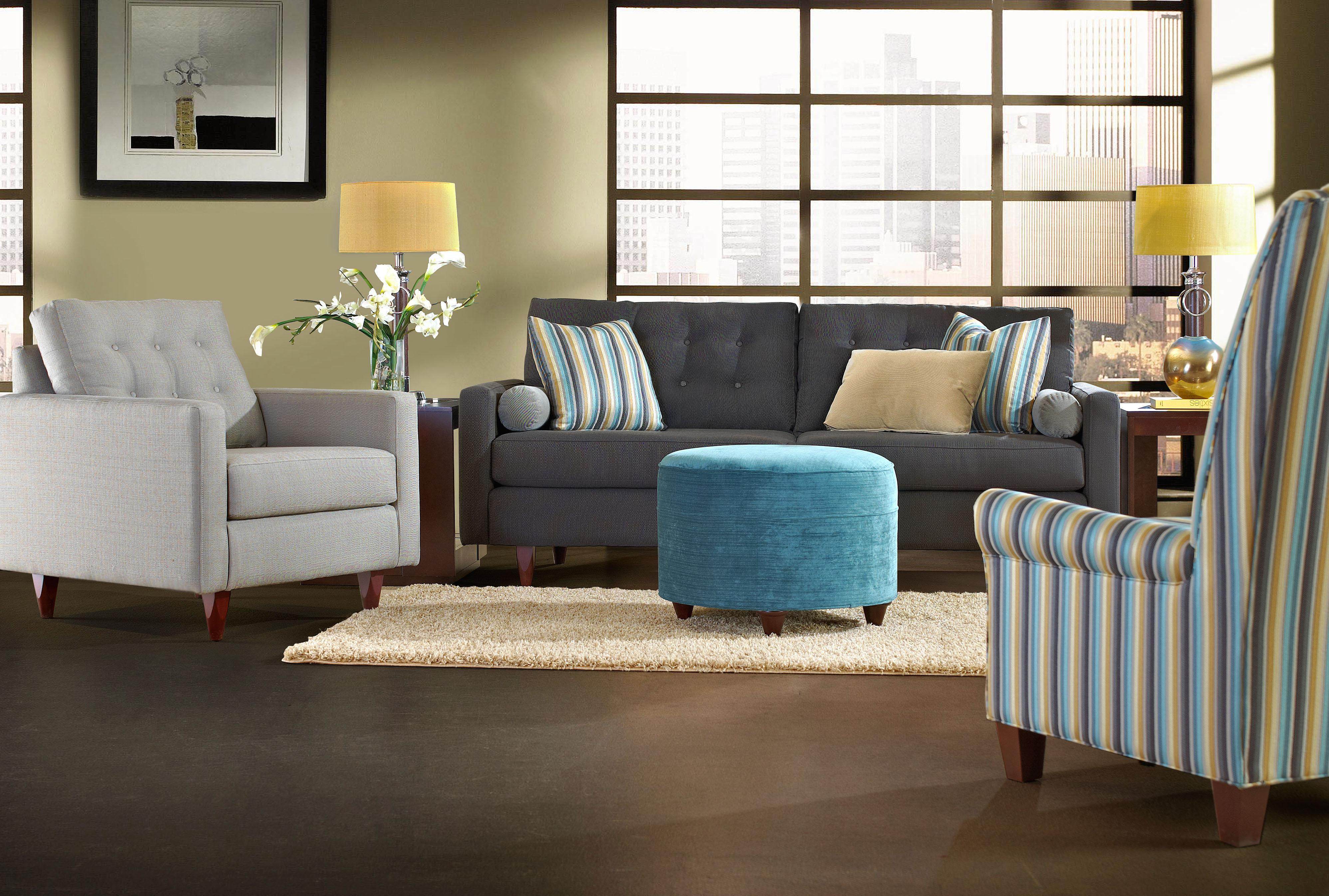 Klaussner Craven Contemporary Button Tufted Sofa with Tall Block